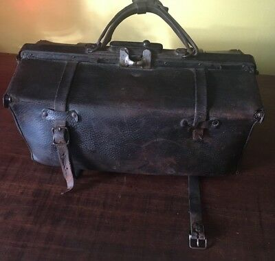 Antique 1800's Leather Doctor's Travel Bag