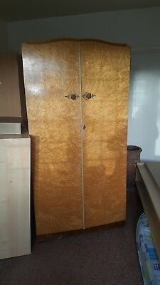 Ladies & Gents Wardrobe Circa 1930's-50's Art Deco Bird's Eye Maple