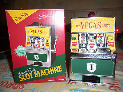 Wembley Slot Machine Savings Bank Lights And Sound NEW Vegas Style Gift