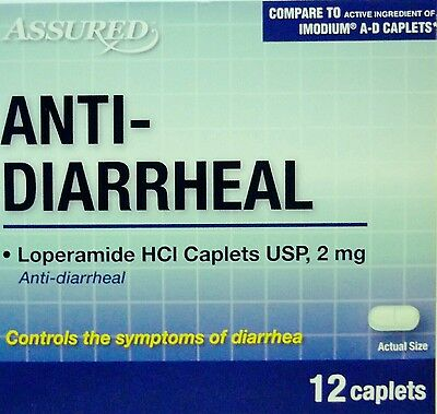 Anti-Diarrheal Caplets Controls Diarrhea Compares to Imodium A-D Qty. 12 per box