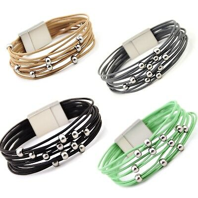 Multi Strand Leather Bracelet with Silver Plated Beads