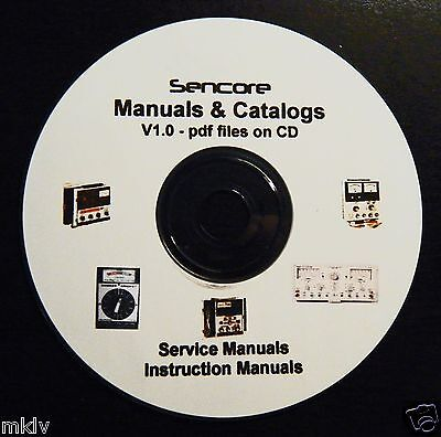 14 Sencore Manuals, 6 Catalogs on CD - SG165, SG80, PA81, TF40 manuals schematic