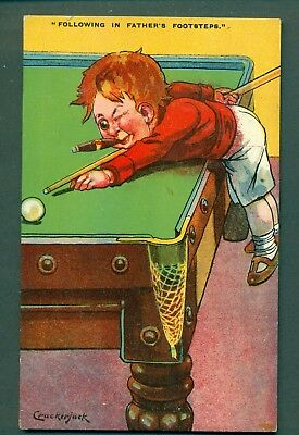 BILLIARDS,CRACKERJACK SERIES,FOLLOWING IN FATHERS FOOTSTEPS,vintage postcard