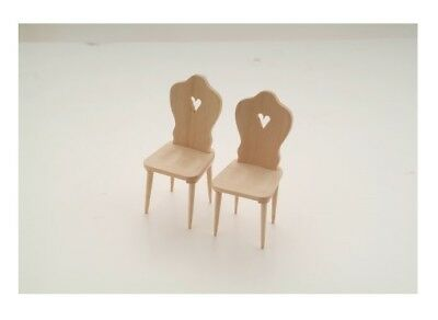 Set of 2 Miniature Natural Wood Chairs with heart shape on the back : 12th scale