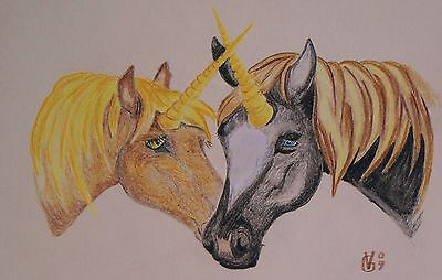 Vg534 Original Coloured Pencil Drawing Of Unicorns