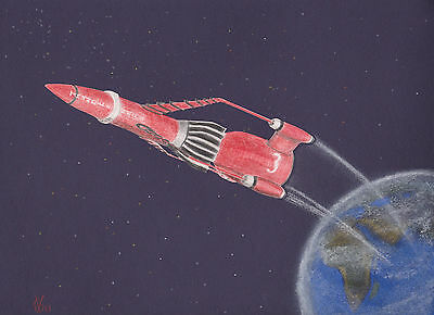 Vg695 Original Coloured Graphite Drawing Of Thunderbird 3