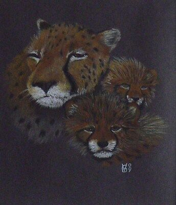 Vg468 Original Pastel Drawing Of A Cheetah With Cubs