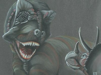 Vg192 Original Chalk Pastel Drawing Of A T-Rex And Triceratops
