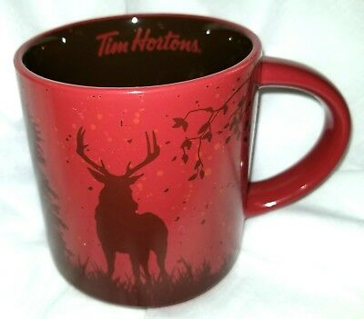 NEW Tim Hortons 2017 MUG Cup CARIBOU DEER RED Brown  Gift Box SHIPPED FROM U.S.