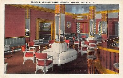VTG POSTCARD COCKTAIL LOUNGE HOTEL NIAGARA FALLS NY Unused  Linen / A25
