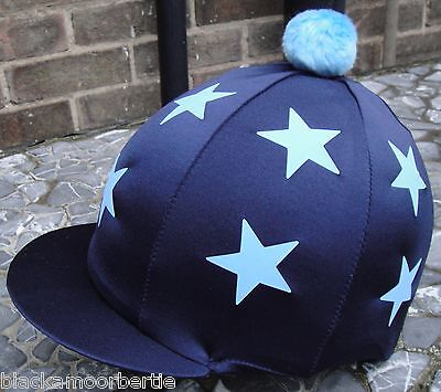 Riding Hat Silk Skull cap Cover NAVY * DOUBLE BABY BLUE STARS With OR w/o Pompom