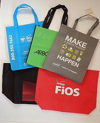 5 Various Advertising Reusable Shopping Bag Tote Grocery Beach Stationary