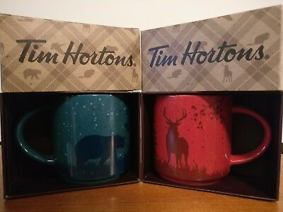 Pair of 2 Tim Hortons Coffee Mugs Christmas 2017 Stackable Red Caribou Blue Bear