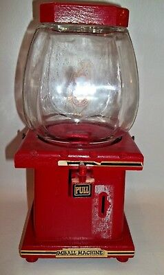 The Candy Man Wood & Glass Gumball Machine Candy Dispenser Red 1 Cent