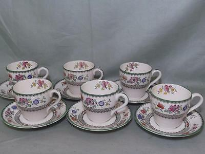 6 Spode Chinese Rose Coffee Cups & Saucers