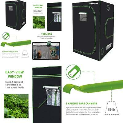 """48""""X48""""X80"""" Mylar Hydroponic Grow Tent With Observation Window Indoor Plant"""