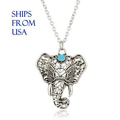 Vintage Silver Elephant Necklace Pendant Turquoise Detail Metal Chain Boho Small