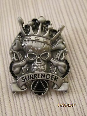 Alcoholics Anonymous, pin, scull, surrender, recovery gift