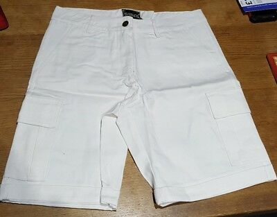 Womens White Combat Canvas Shorts 60% Polyester 40% Cotton By Brave New World