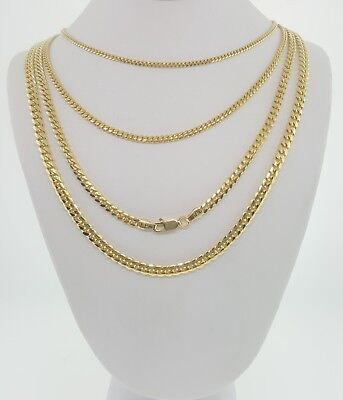 """.925 sterling silver miami cuban curb chain 14K gold plated  2mm-5mm 18"""" to 24"""""""