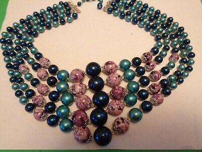 Vintage Multi 5 Strand Blue Faux Pearl & Purple Marble plastic Beaded Necklace