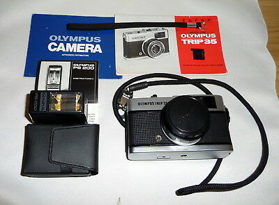 Vintage Olympus Trip 35 with PS200 Flash Instructions and Straps