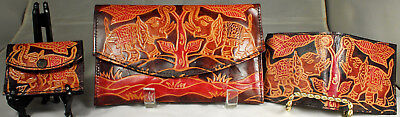 3pc SHANTINIKETAN Wallet SET LEATHER Hand Made ElLEPHANT JUNGLE Motif Phone Case
