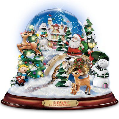 Rudolph The Red-Nosed Reindeer Illuminated & Musical Snowglobe-Bradford Exchange