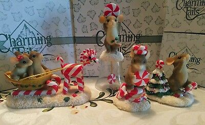 CHARMING TAILS CHRISTMAS LOT CANDY CANE MICE MOUSE Bell Figurines Signed LE