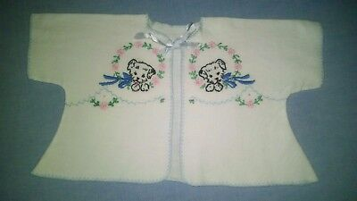 Vintage Baby Sweater/Puppy/Embroidery/White Newborn sweater. Puppies