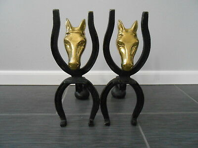 Vintage Brass Horse Head and Horse Shoe Cast Iron Fireplace Andirons