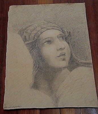 Tischbein School - XVII Century - woman portrait - pencils and chalk on paper