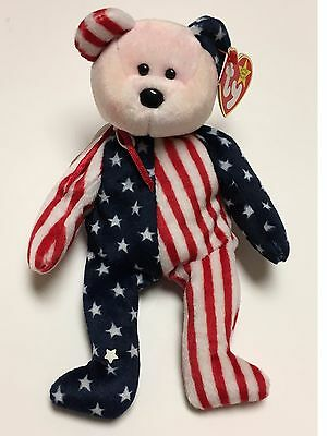 Spangle Bear Ty Beanie Babies Pink Face Rare Retired Plush America Flag Patriot