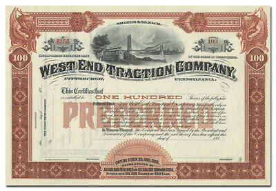 West End Traction Company Stock Certificate