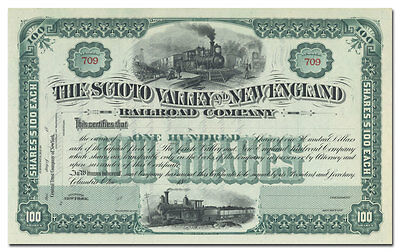 Scioto Valley and New England Railroad Company Stock Certificate