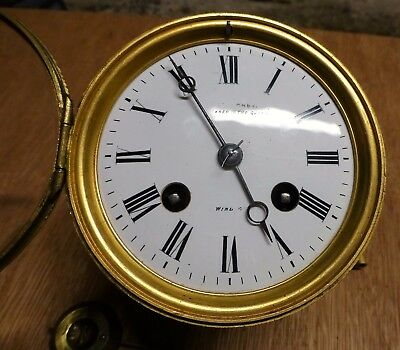 Mantel clock movement Japy Freres. Dial Indistinctly signed W. Willoughby Windor