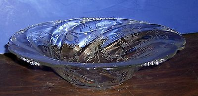 """12"""" Heisey Orchid Etched Crystal Glass Bowl 3""""h  Free Us Ship"""