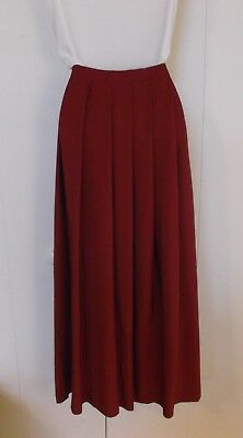 Vintage Lands End 100% Silk Christmas Red Pleated Maxi Long Skirt Sz 18 EXCELLEN