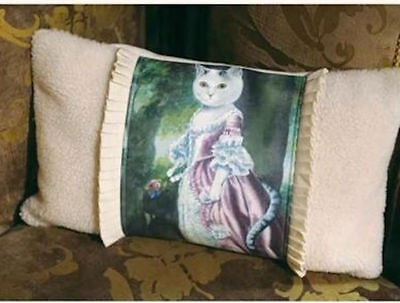 Victorian Portrait Girl Feline Kitty Cat  Decorative Throw Pillow w Insert  NWT