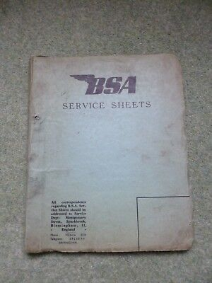 BSA Bantam Service Sheets - D1 & D3 Engines - Mid to Late 50s Dates