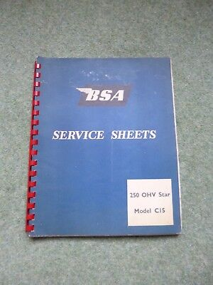 BSA 250 OHV Star Model C15 Service Sheets - Mostly Late 50s Dates