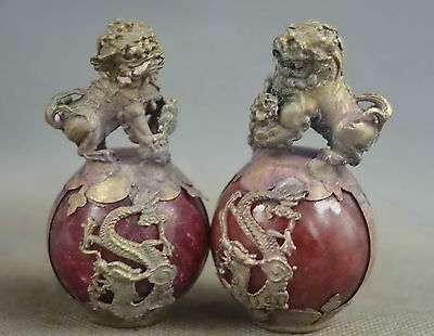 Collectable Handwork Agate Armor Miao Silver Carve Lion & Dragon Exorcism Statue