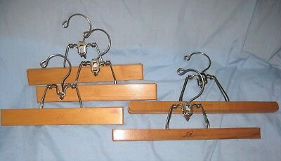 Set of 5 Vintage Setwell Wood Skirt and Pants Hangers