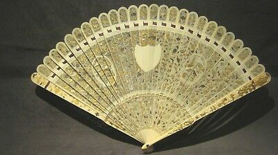 Fine Antique Chinese Export Filigree Hand Carved Brise Fan Old Canton Qing 19C