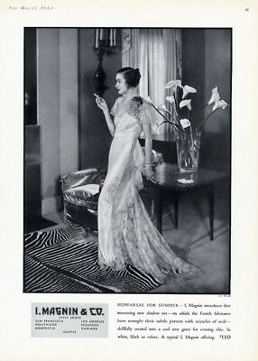 Evening Gown I MAGNIN 1934 Fashion Ad French Fabric Shadow Net