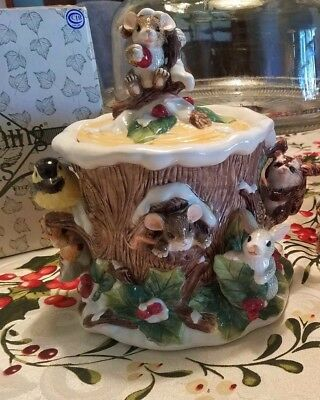 Charming Tails Christmas Cookie Jar Holly Day Dreams #93/507 Mice Mouse Rare