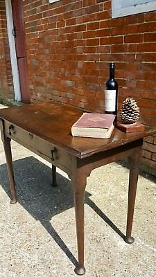 Antique English Georgian Oak Country Side Console Occasional Hall Hallway Table