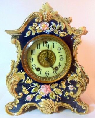 Amazing MAJOLICA Mantel CLOCK Art Nouveau Gilbert Clock Rococo Shell Flowers