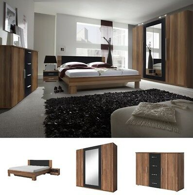 komplettes schlafzimmer mit bett lattenrost schrank kommode und nachtk stchen eur 177 00. Black Bedroom Furniture Sets. Home Design Ideas