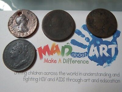MADaboutART farthings  George III 1807 William IV and G IV 1821  copper